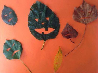 faire des personnages avecd es feuilles mortes d 39 automne bricolage feuille automne fantome. Black Bedroom Furniture Sets. Home Design Ideas