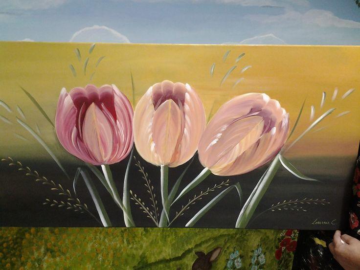 Tulipani acrilico su tela
