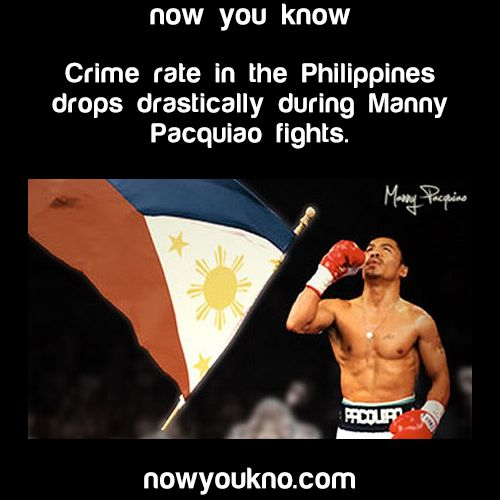The crime rate in the Philippines drops dramatically during Manny Pacquiao fights - now you know nowukno