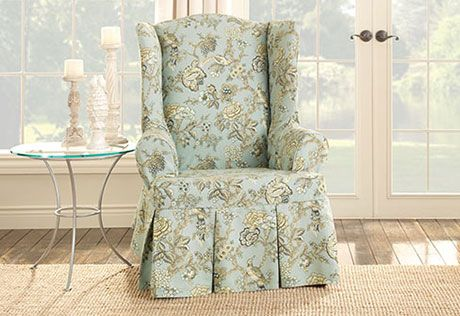 Sure Fit Slipcovers Casablanca Rose Wing Chair Slipcover - Wing Chairs
