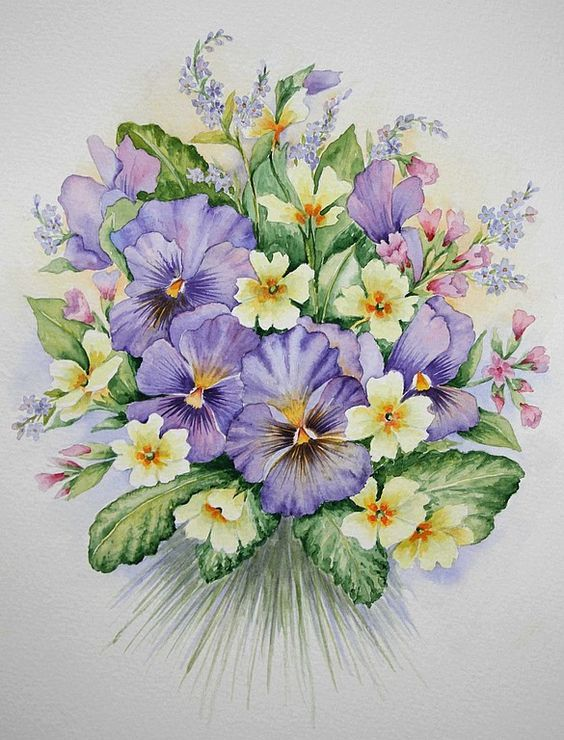 Цвета на открытках нарисованные, просить