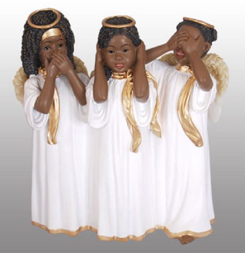 See, Hear, Speak no Evil Trio Cherub in White (Order in 2's)