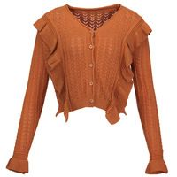 Sishot women casual knitwear 2018 spring autumn brown plain flare sleeve ruffle v neck button patchwork casual short cardigan