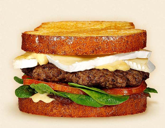 The Miss Daisy:   Wisconsin Brie Cheeseburger Recipe.  Other ingredients:  apple butter, spinach, beef patty, Dijon mustard, and toasted brioche loaf.   - Wisconsin Milk Marketing Board