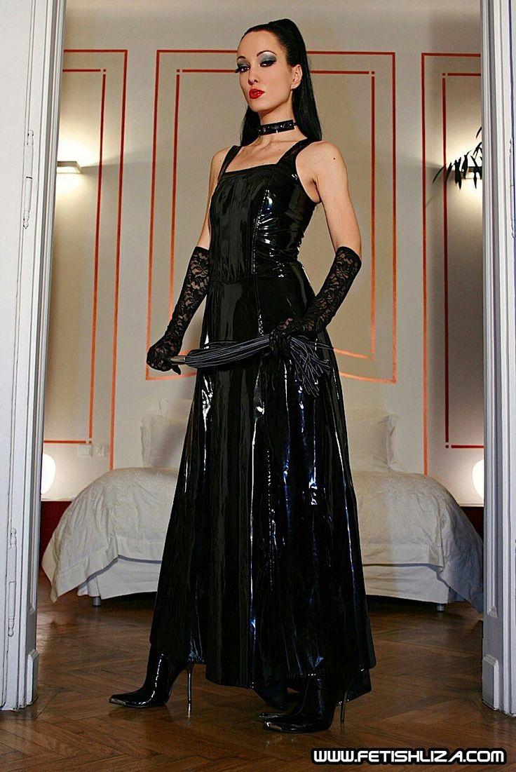 Fetishliza long black latex dress