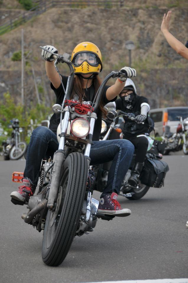 Seiko Yasunaga On Her Brat Style Bike, Grin Beaming -5215
