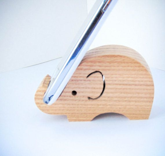 Wooden elephant phone holder tablet holder