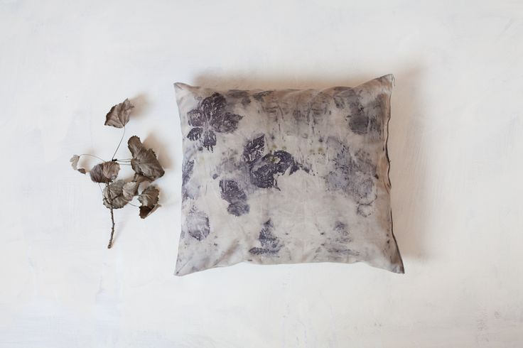 2000poils: pillow -  eco printed with blackberry leaves