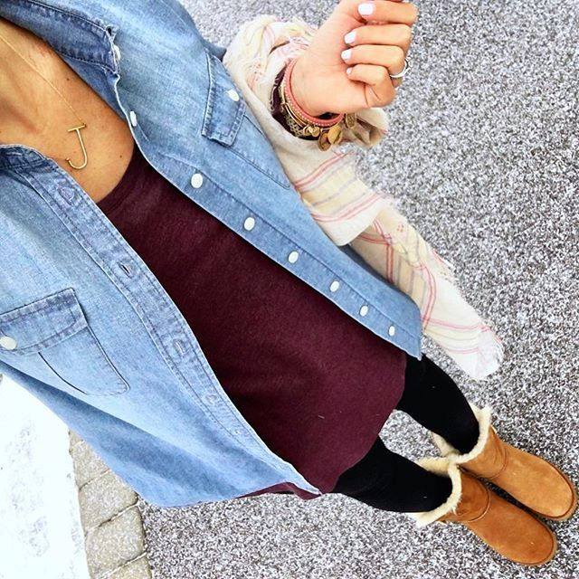 IG @mrscasual <click through to shop this look> chambray shirt.  tunic.  leggings.  UGG bailey button boots.  Plaid scarf.