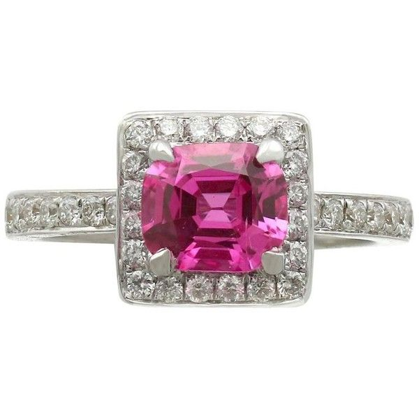 Preowned 1990s 1.27 Carat Pink Sapphire And Diamond White Gold... ($7,737) ❤ liked on Polyvore featuring jewelry, rings, engagement rings, white, pre owned engagement rings, pre owned diamond rings, white gold rings, vintage engagement rings and vintage diamond rings