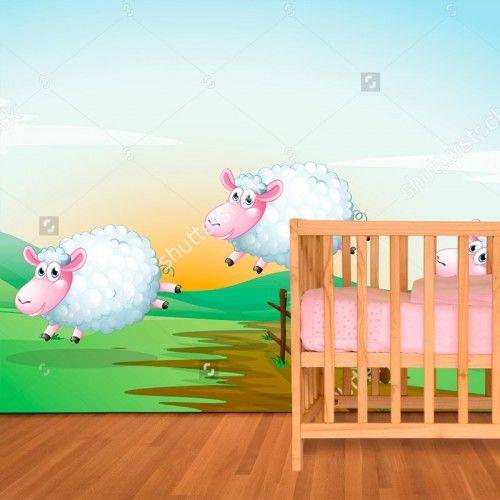 Fotobehang Schaapjes over het hek | Maak het jezelf eenvoudig en bestel fotobehang voorzien van een lijmlaag bij YouPri om zo gemakkelijk jouw woonruimte een nieuwe stijl te geven. Voor het behangen heb je alleen water nodig!   #behang #fotobehang #print #opdruk #afbeelding #diy #behangen #kinderkamer #babykamer #schaapjes #schapen #schaap #schaapjestellen #tellen