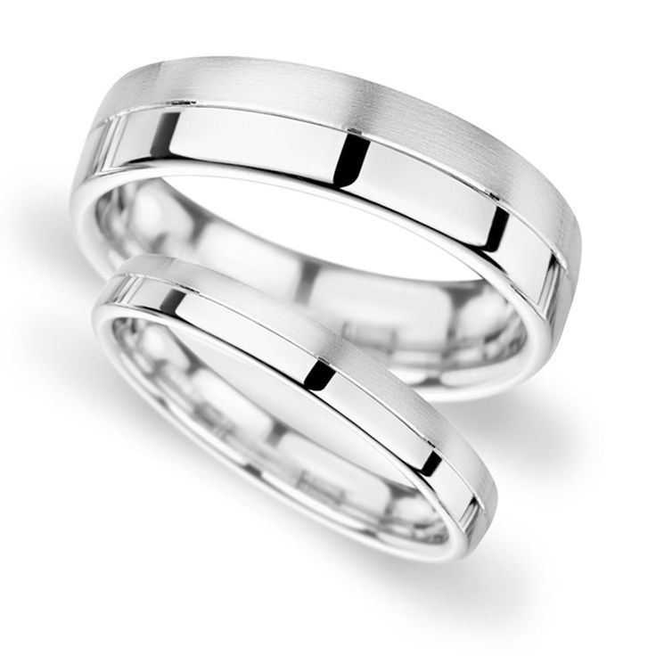 White Gold Band His and Hers set of Wedding Rings Half Polish Half Satin Finish