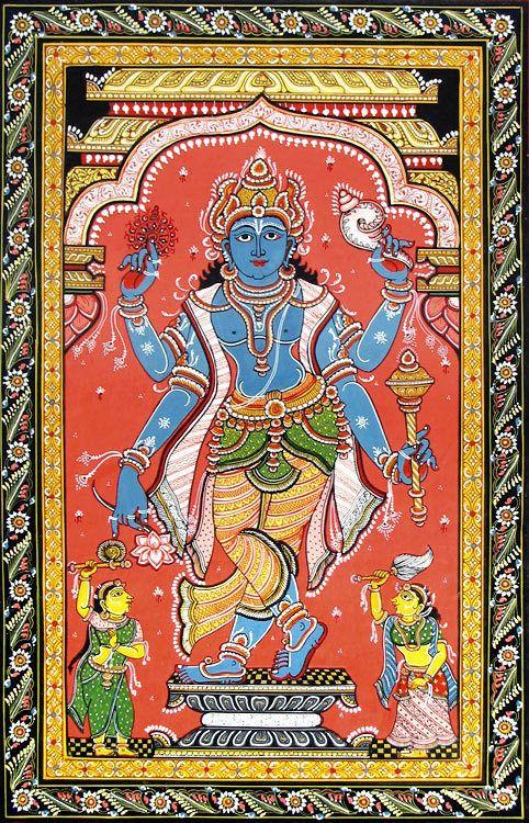 Vishnu (Orissa Paata Painting on Canvas - Unframed))