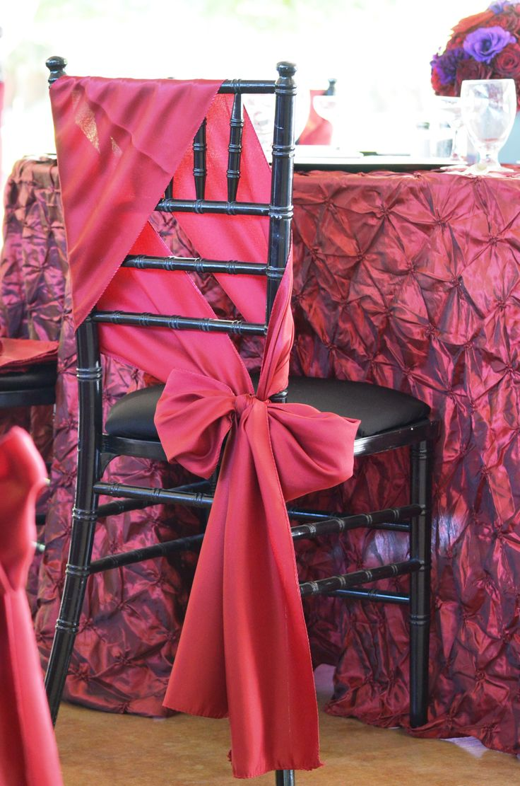 Chair sashes styles - Styles For Your Celebration S Chair Sashes Seshalyn S Party Ideas Burgundy Red Or Red Organza Garland Perfect For Chair Ties At