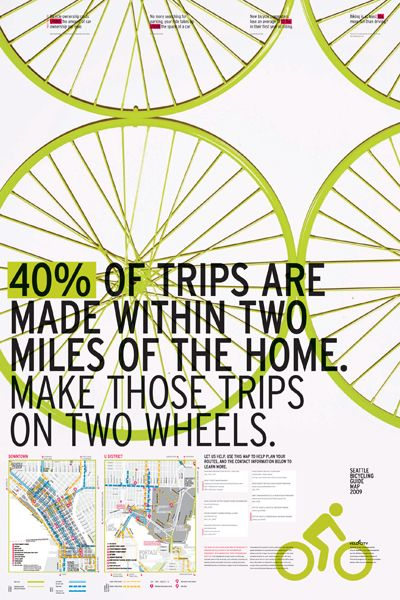 I like the type treatment and colors of this poster. Also bicycle wheels are always cool.