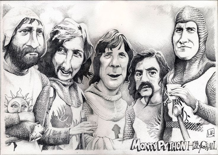 Monty Python & Holy Grail (pencil caricature) by IvandelRio