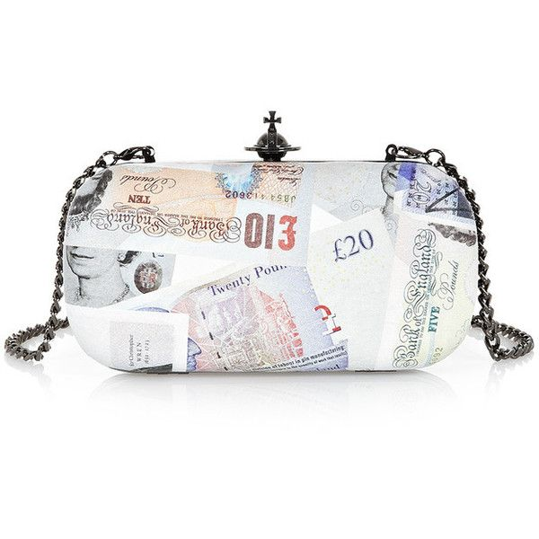 Vivienne Westwood Bank Small Clutch found on Polyvore featuring bags, handbags, clutches, vivienne westwood, metallic clutches, multi colored purses, white purse and multi color purse