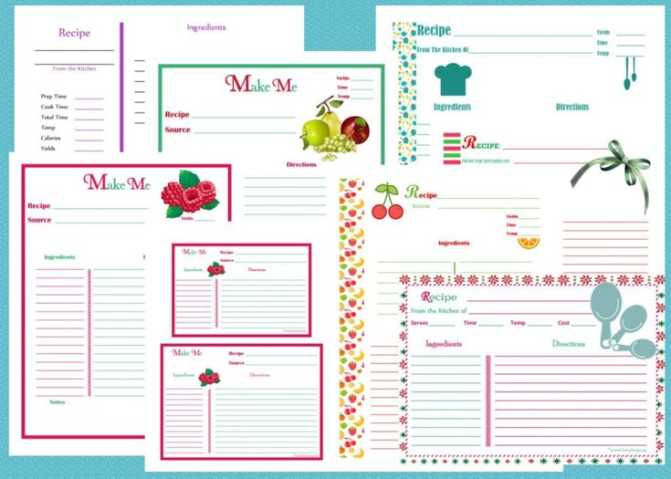 Free Printable Recipe Cards & Pages