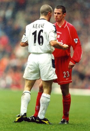 Two notorious hardmen, Roy Keane and Jamie Carragher square up in a heated encounter in the early 2000's
