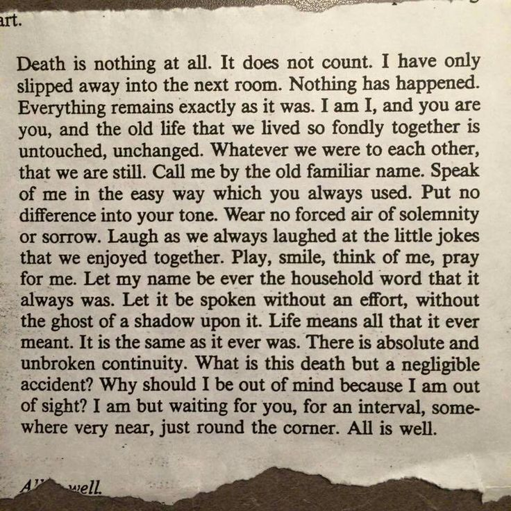 After his mother's passing, a man came across this torn out page. It contains so, so much wisdom, assurance, and peace.