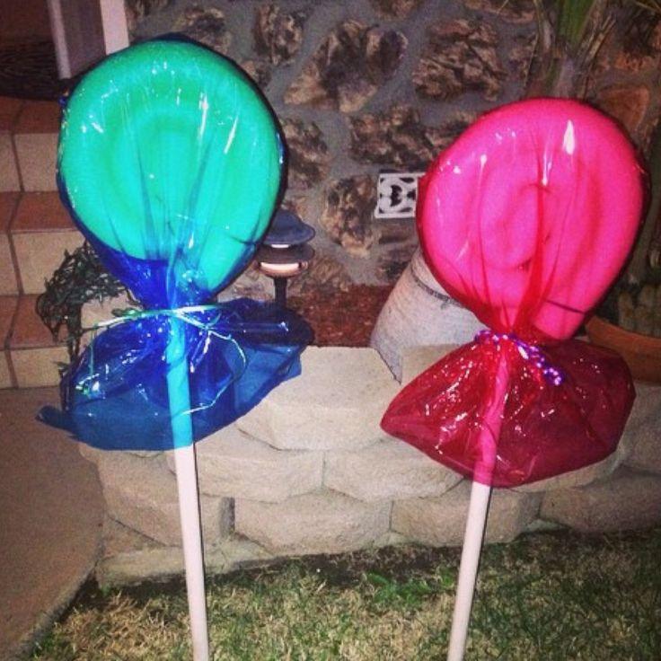 Pool Noodle Lollipops DIY