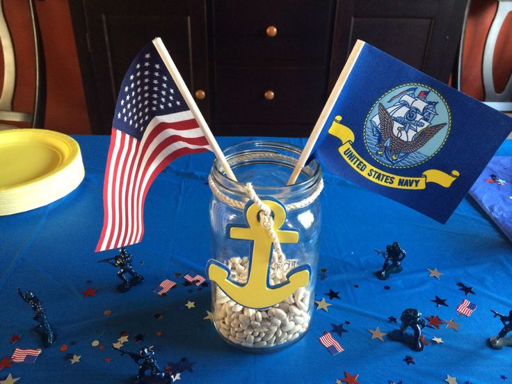 Navy centerpieces for going away party for Navy bootcamp.