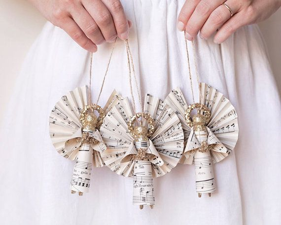 Golden Angels  Handmade Clothespin Doll by smilemercantile on Etsy