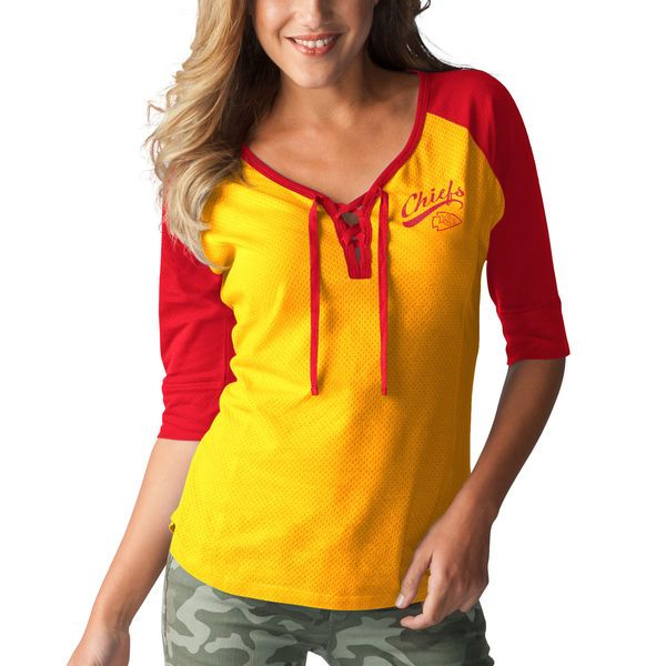 Kansas City Chiefs Touch by Alyssa Milano Women's Perfect Game Lace Up 3/4-Sleeve Raglan T-Shirt - Yellow/Red