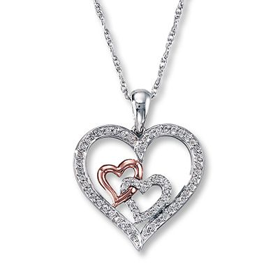 44 best heart images on pinterest jewelery jewels and heart diamond heart necklace 14 ct tw sterling silver10k gold mozeypictures Images