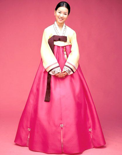 In Korea, women often wore a hanbok. This garment has a skirt that ties just under the arm and worn high on the chest.