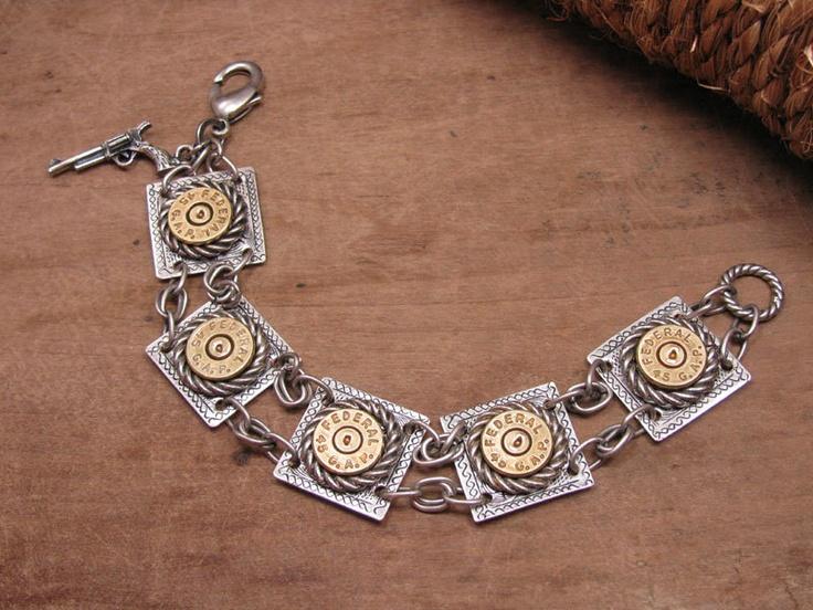 Bullet Casing Jewelry - Mixed Metal Composition Bracelet Using 45 GLOCK casings - Glock Girls Rule. $87.50, via Etsy.