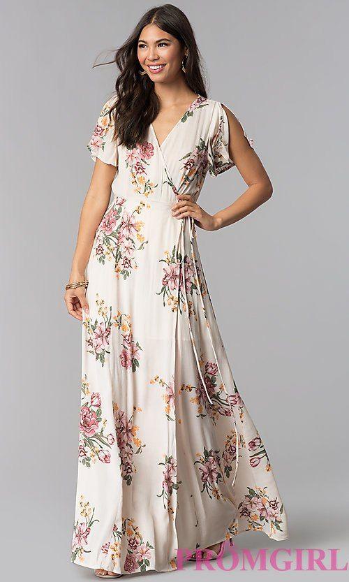 Maxi V Neck Floral Print Wedding Guest Dress Boho Floral Maxi Dress Wedding Guest Dress Dresses