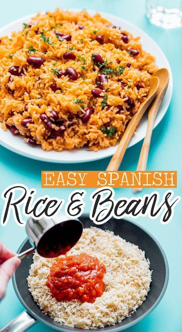 Easy Spanish Rice And Beans Recipe Spanish Rice And Beans Bean Recipes Spanish Rice Easy
