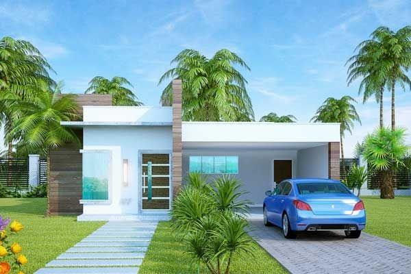 Plano de moderna casa con estilo mediterráneo