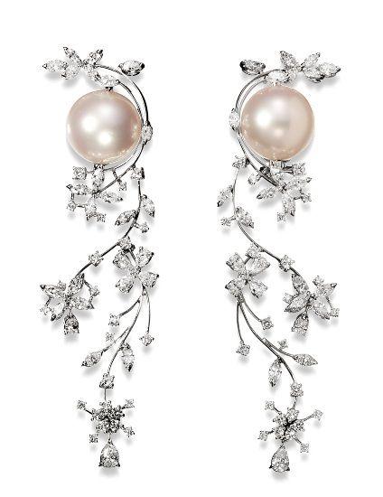 Seduction - Stefan Hafner - VENUS earrings 18K White Gold Pearl and Diamond Earrings White Australian Pearls