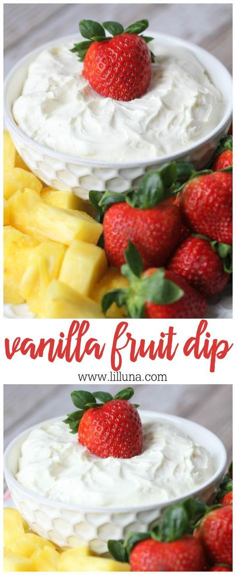 A delicious recipe for Vanilla Fruit Dip. Cream cheese, cool whip, vanilla pudding mix, and vanilla yogurt mixed together to make the best dip for your favorite fruit.