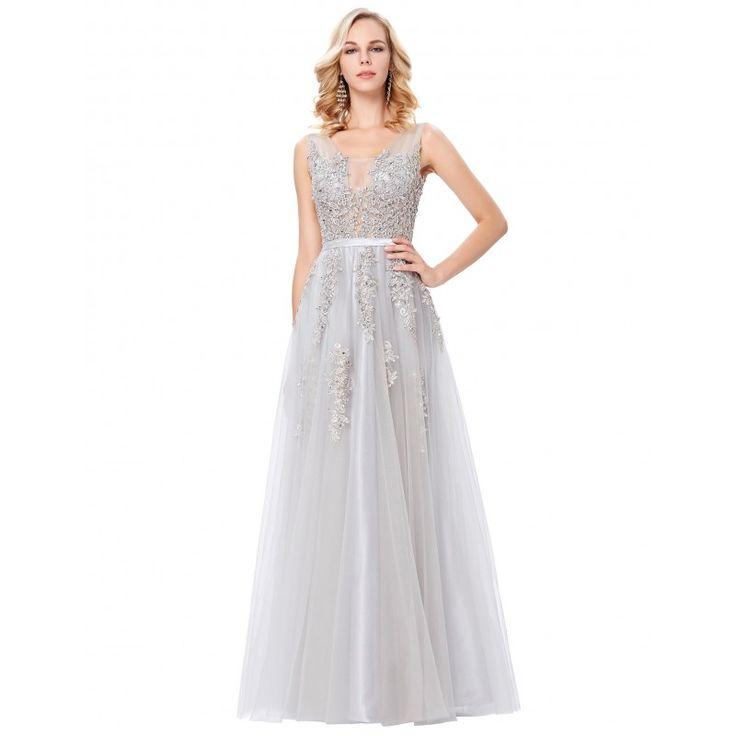 Sivé spoločenské šaty GK000130