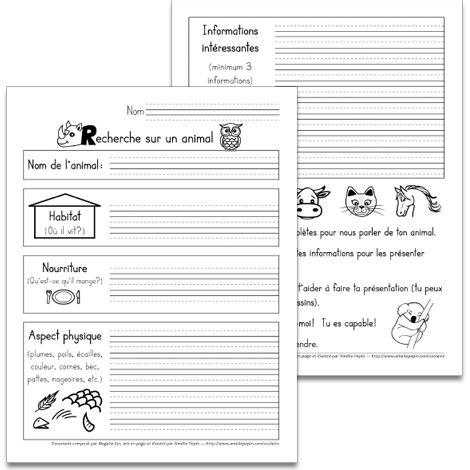 Fichier PDF téléchargeable En noir et blanc 2 pages Voici une fiche de recherche sur un animal à remplir par les élèves. Cette recherche peut ensuite être présentée à l'ensemble de la classe et peut être utilisée comme évaluation en communication orale.