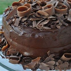 A rich moist chocolate cake with a chocolate buttercream icing. This is the best cake in the world!