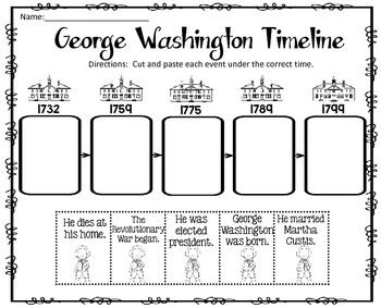 George Washington Timeline Cut and Paste FREEBIE!  You might be interest in: PRESIDENTS DAY MATH AND LITERACY PRINTABLES PRESIDENTS DAY CENTER (ADJECTIVE OR VERB?) PRESIDENTS DAY NOUNS CENTER  I am pleased to offer this cut and paste activity to you for FREE!