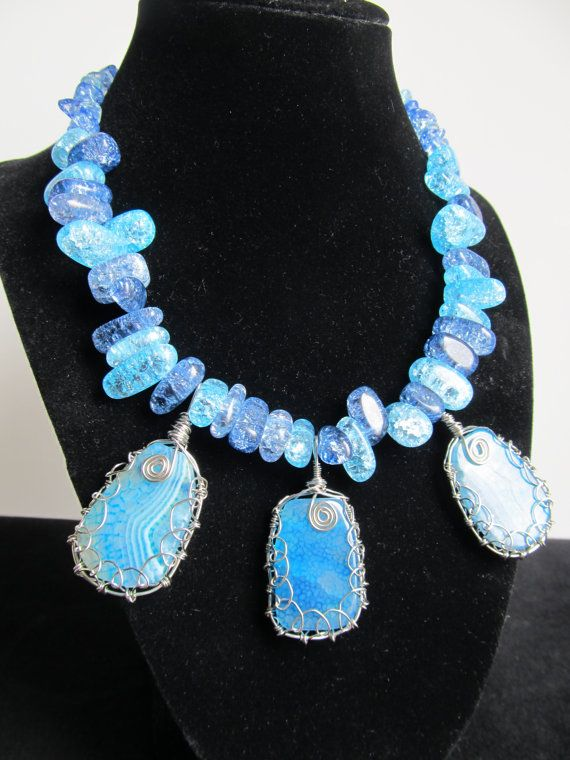 Blue Crackle Agate Necklace by DivineTreasurestc on Etsy, $90.00