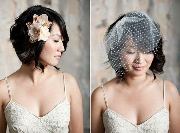 les jolies mari es aux cheveux courts mariage coiffures and retro. Black Bedroom Furniture Sets. Home Design Ideas