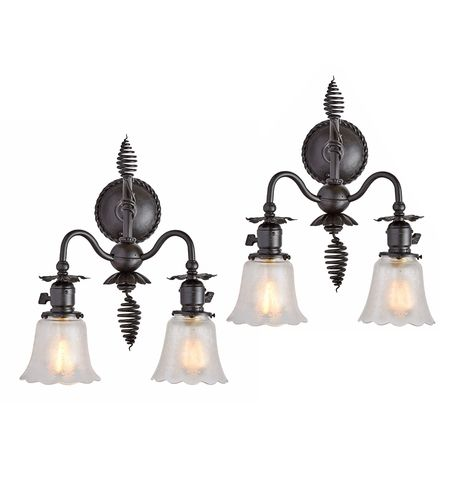 Pair of Wrought Iron Victorian Wall Sconces Circa 1905 R9604