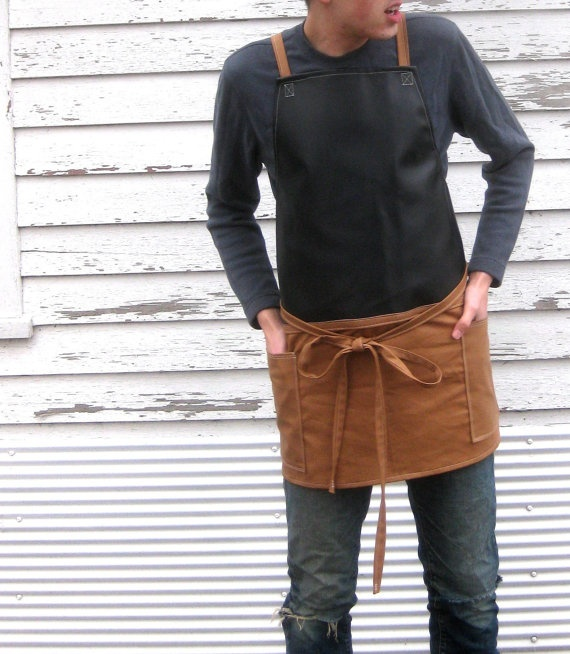 Rustic Full Industrial Style Workshop Apron with Crossed Straps for Him or Her in The Mason. $52.50, via Etsy.