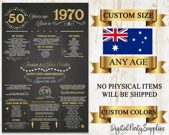Australian 50th Anniversary Gifts 1971 Anniversary Poster 50 Etsy Birthday Poster 40th Birthday Poster Anniversary Chalkboard