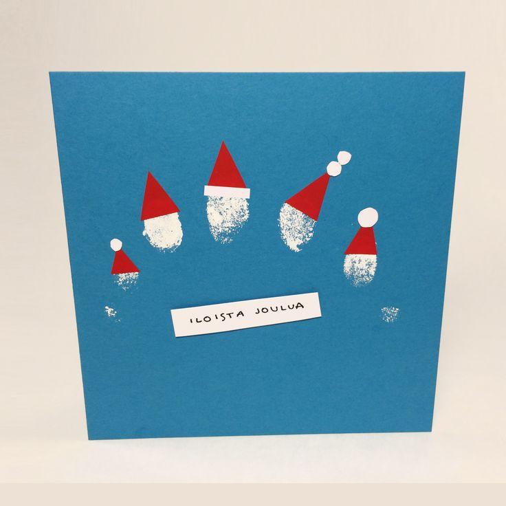 Sormitonttukortti. lasten   askartelu   joulu   joulukortit   käsityöt   koti   DIY ideas   kid crafts   christmas   home   cards   Pikku Kakkonen