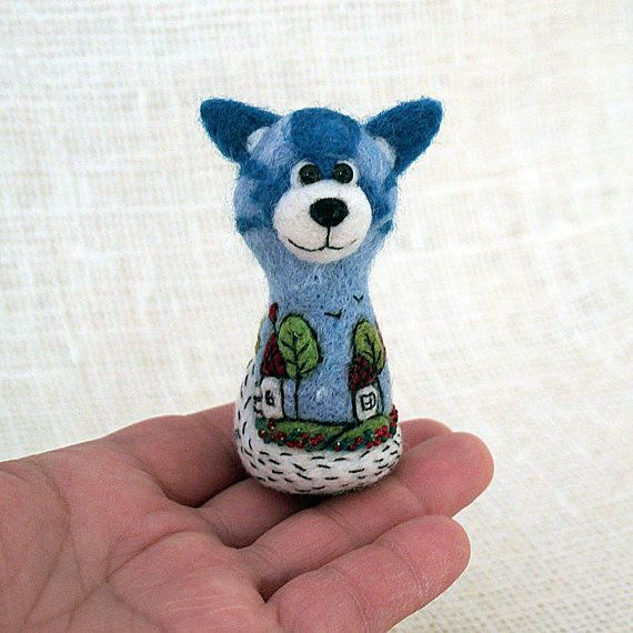 Needle felted dog embroidered with beads and felt by SecretFriends
