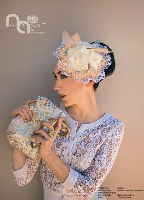 Classic wedding look. Hat and hand bag from manually perforated fabric. Design and handmade by Natalia Alexandrova. www.fb.com/nataliaalexandrova.rsa Photography: Ariadna