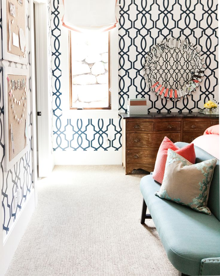 Teen girl navy, coral and turquoise bedroom with navy and white geometric wallpaper