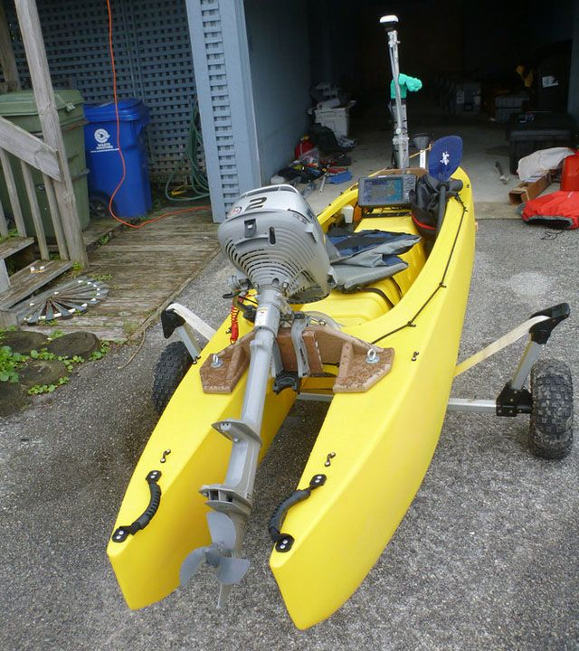 2hp Outboard Motor Mounted On Fishing Kayak Boat